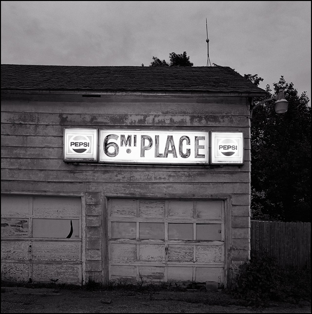 Sign For 6 Mile Place Bar Just Outside Fort Wayne Indiana