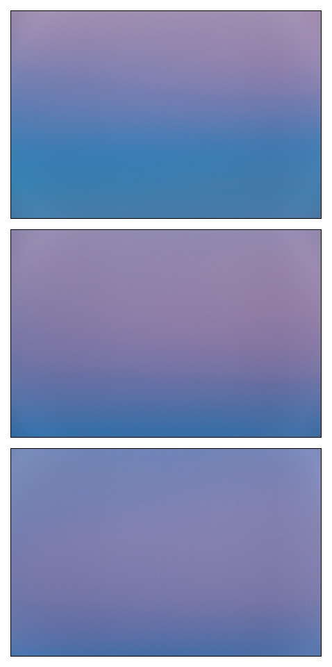Three photographs of the sky at dusk, forming an abstract color field triptych.