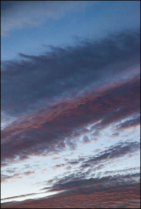 Abstract photograph of blue and purple stripes formed by clouds in the sky at sunset.