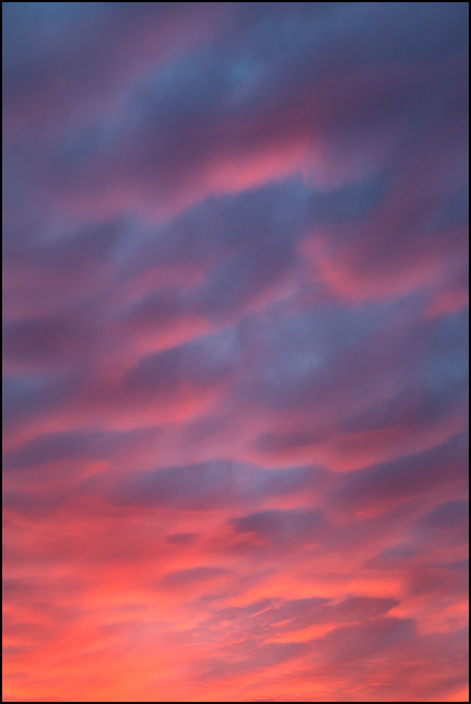 Abstract photograph of red and purple clouds above an orange sunset sky on a November evening in rural Allen County, Indiana.