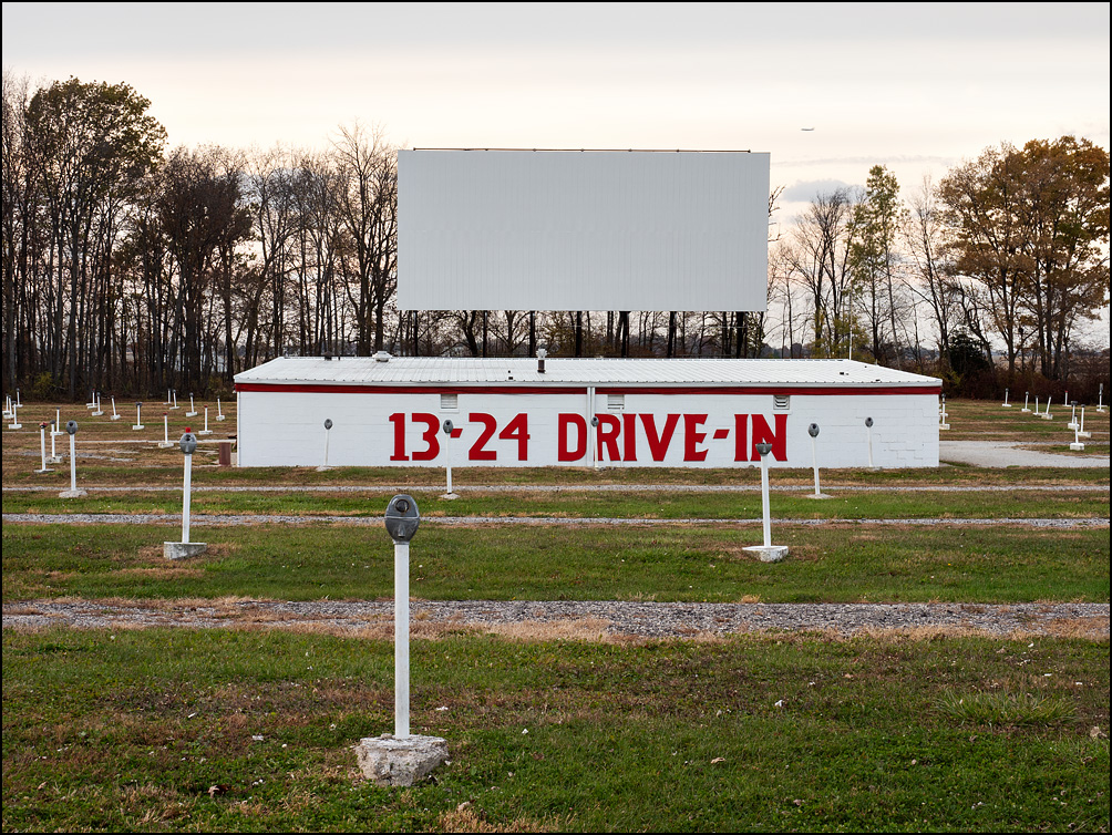 The 13-24 Drive-In Theater in Wabash County, Indiana. Photographed at sunset on a fall evening after it had closed for the season.