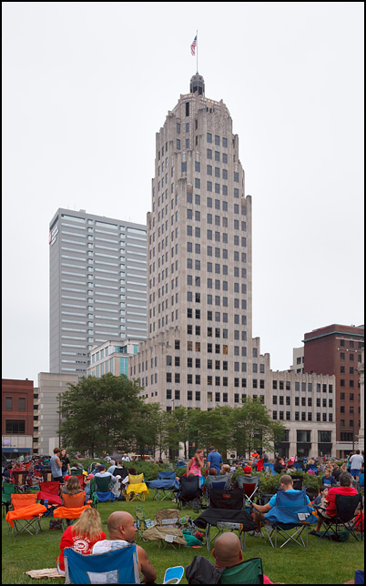 The Lincoln Tower looms over the crowd on the Courthouse Green before the fireworks began on the Fourth of July in downtown Fort Wayne, Indiana.