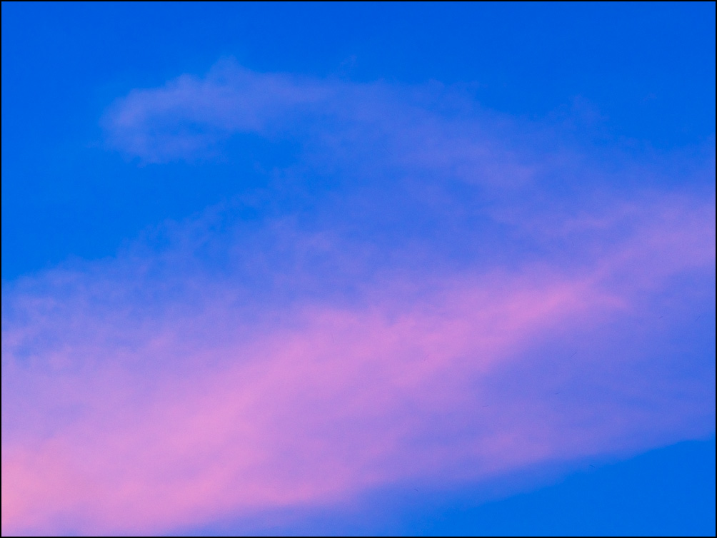 The last of six abstract images of cloud formations in the sky right before sunset in Fort Wayne, Indiana.