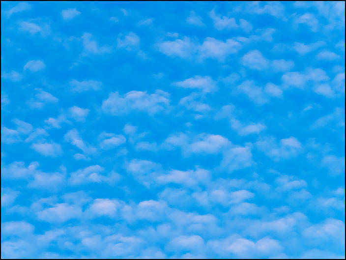 An abstract photograph of small round white clouds filling a blue sky.