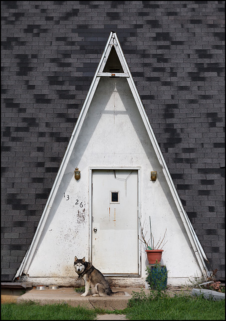 A Siberian Husky dog sits in front of the entrance to an A-Frame house on Lake Everett Drive in rural Allen County, Indiana.