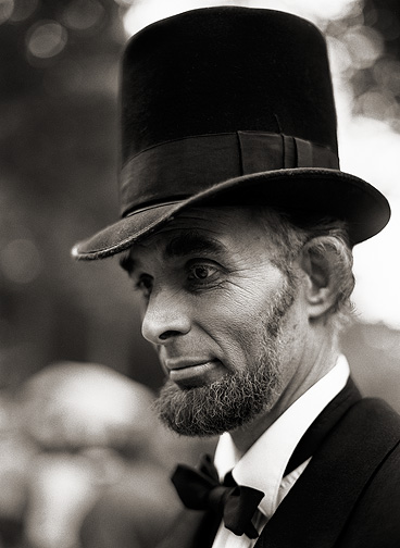 An actor portraying President Abraham Lincoln at the Johnny Appleseed Festival in Fort Wayne, Indiana.
