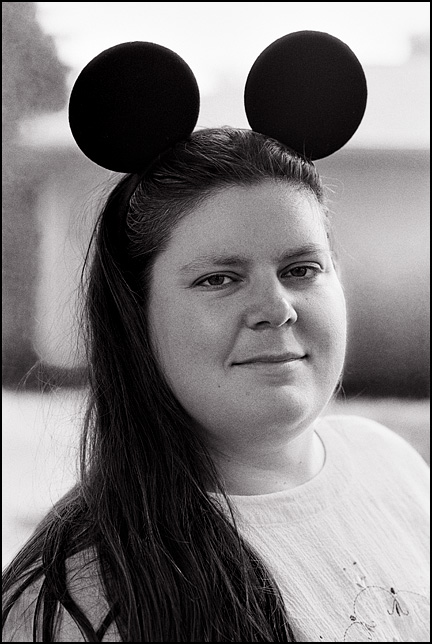 Portrait of Amy Drefke wearing Disney Mickey Mouse Ears.