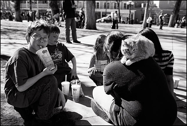 A teenage girl with a cat sitting on her shoulder, like a parrot, and a group of other children sitting together on the Santa Fe Plaza during the antiwar rally marking the anniversary of the Iraq war.