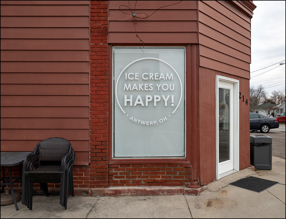 KB Scoops, an ice cream shop in the small town of Antwerp, Ohio. The window says Ice Cream Makes You Happy.""