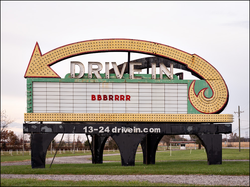 The marquee in front of the 13-24 Drive-In Theater in Wabash County, Indiana. It is closed for the winter, and the sign just says Bbbrrrr.