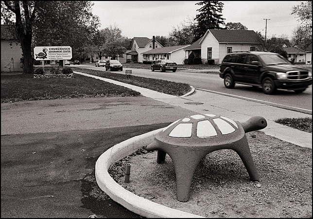 A giant cement turtle watches traffic on Main Street in front of the town hall in the small town of Churubusco, Indiana.