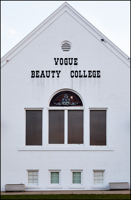 Vogue Beauty College is a cosmetology school in an old white brick church building on Lincolnway in Mishawaka, Indiana. The building still looks very much like a church, complete with stained glass windows.