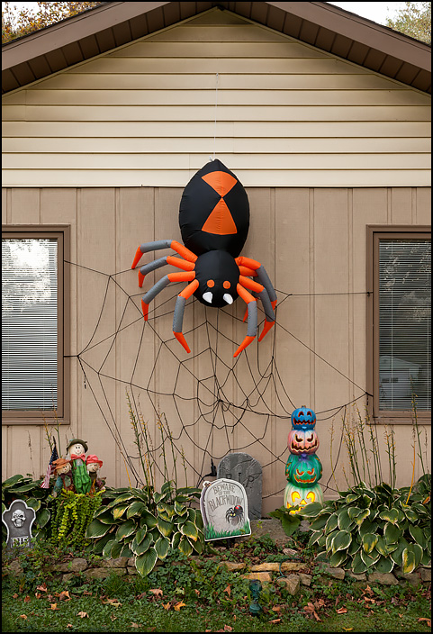 For Halloween, a giant inflatable black widow spider hangs on her web on the front of a house on Woodheath Avenue in Fort Wayne, Indiana.