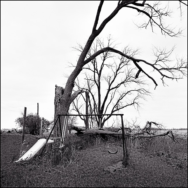 A playground slide and swing set stand beside an old wrought iron fence in front of a fallen tree on an abandoned farm in rural Indiana.