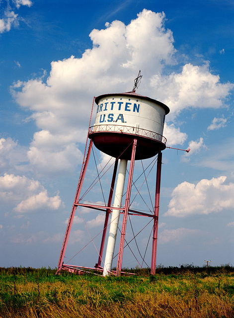 A large Christmas star stands on top of the old leaning water tower on Interstate 40 and Route 66 outside Groom, Texas.