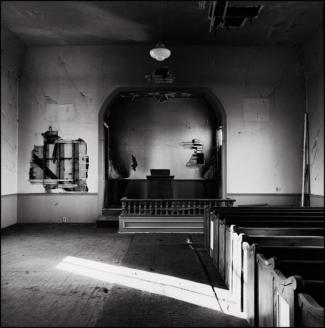 Inside the fire damaged church at the Prairie Grove Cemetery in the Waynedale area of Fort Wayne, Indiana.