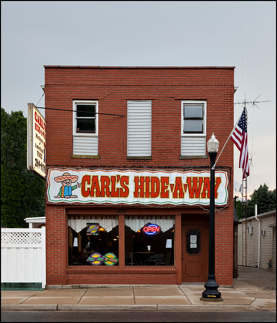 Carls Hide-A-Way Mexican Restaurant in an old brick storefront in the small town of Ida, Michigan.