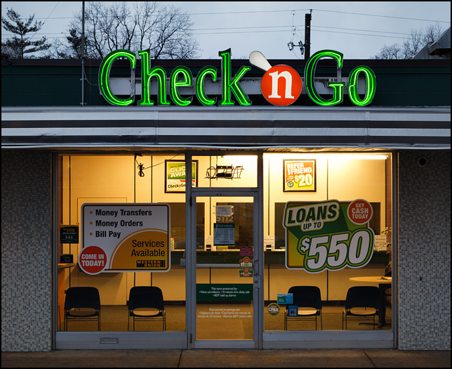 A Check-N-Go payday loan and check cashing store on the south side of Fort Wayne, Indiana.
