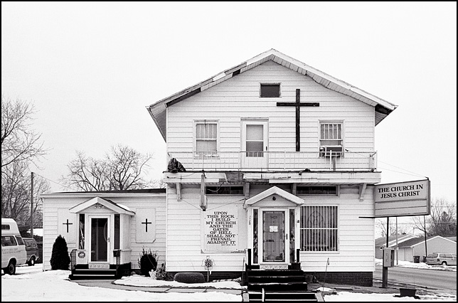 The Church in Jesus Christ on Winter Street in the inner city of Fort Wayne. The sign on the church quotes Matthew 16.