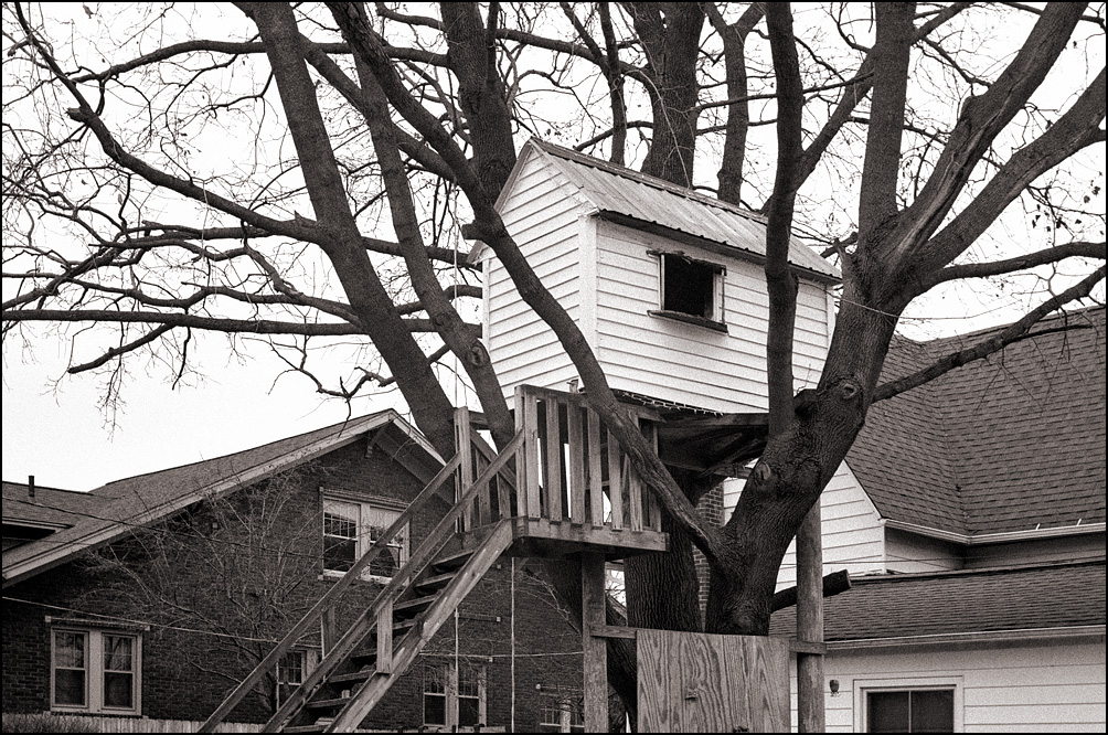 A little white treehouse in a tree behind a house on Main Street in the small town of Churubusco, Indiana.