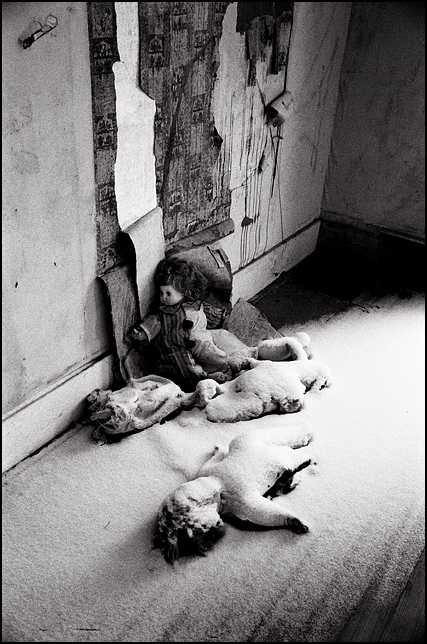Five dolls scattered on the snow-covered floor of an abandoned house. The dolls are all covered in snow except for a clown doll who leans against the rotting wall and peeling wallpaper.