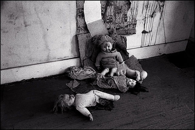 Five old broken dolls lay on the floor of an abandoned farmhouse. A Cabbage Patch Kid, a headless baby doll, a sleeping baby doll, and a doll with one leg are sleeping on the floor while a Cricket Doll sits against the peeling wallpaper.