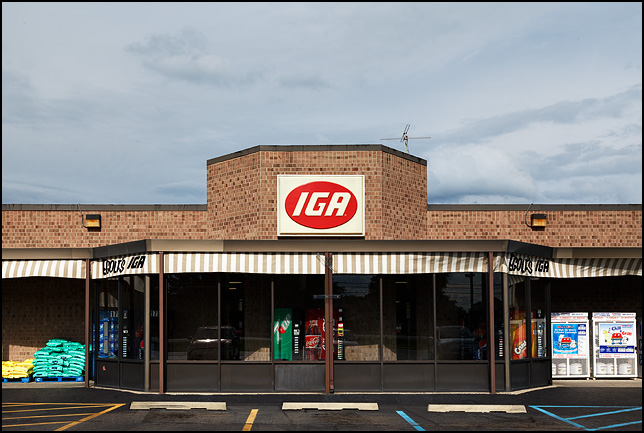 Egolf's IGA supermarket on US-33 in the small town of Churubusco, Indiana.