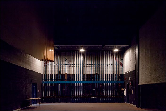 The ropes used to raise and lower backgrounds and curtains in the wings of the theatre stage at Elmhurst High School in Fort Wayne, Indiana.