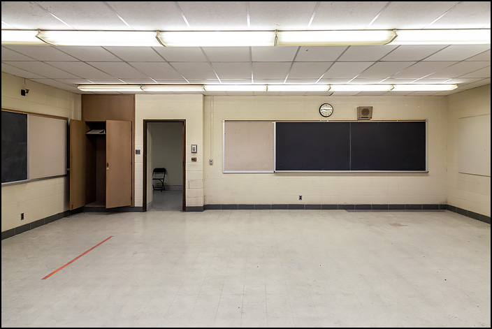 An empty classroom at Elmhurst High School in Fort Wayne, Indiana. All of the desks were removed after the school was closed.