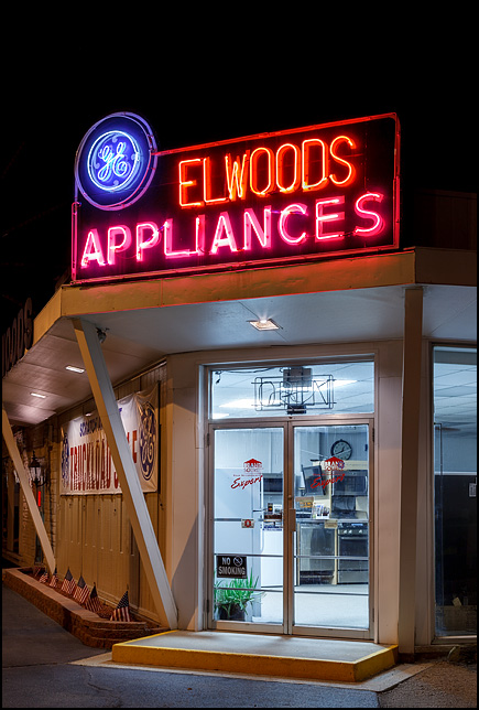Neon Sign With General Electric Logo At Elwoods Appliances