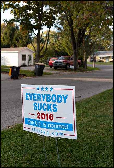 A political sign that says, Everybody sucks 2016. The US is doomed. The sign is posted in front of a house in a residential neighborhood in Fort Wayne, Indiana.