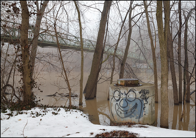 Graffiti painting of a face on a manhole on the banks of the Saint Marys River at Foster Park in Fort Wayne, Indiana. The old suspension bridge over the river is visible in the background.