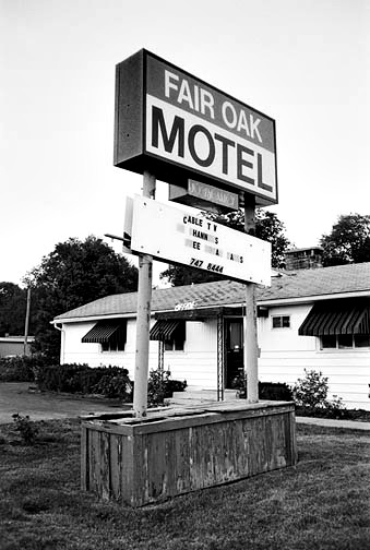 Stick-on letters spell out Cable TV on a sign in front of the Fairoak Motel in Waynedale.