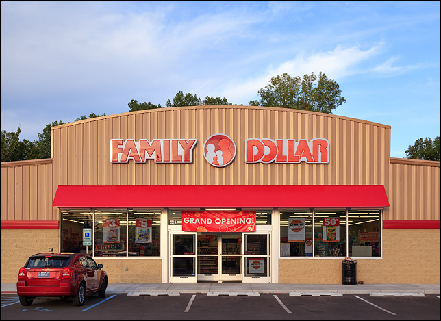 A newly opened Family Dollar store on Bluffton Road in Fort Wayne, Indiana. A Grand Opening banner hangs over the front doors.