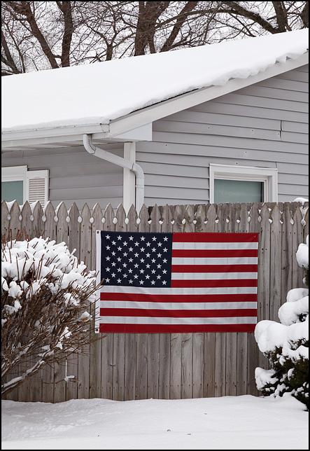 An American flag on a wooden stockade fence surrounded by bushes covered in snow.