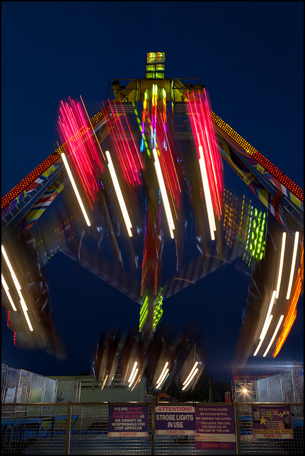 The Freakout ride at the 2016 Elkhart County Fair in Goshen, Indiana. This ride is nearly identical to another carnival ride called the Fire Ball.