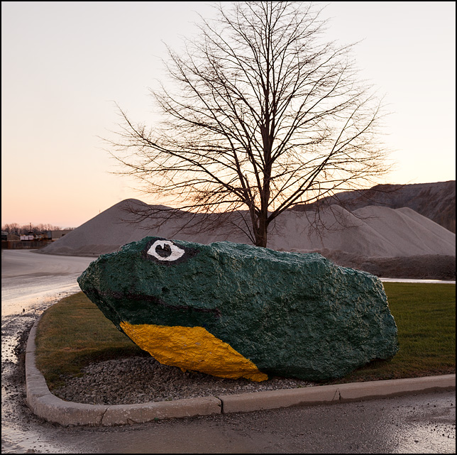 A gigantic piece of limestone painted green with a yellow belly like a frog sits at the main entrance to the Hanson limestone quarry on Ardmore Avenue in Fort Wayne, Indiana.
