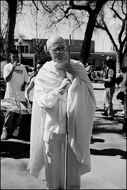 Don McAvinchey, an actor known for his portrayals of Mahatma Gandhi, during the antiwar protest on the Santa Fe Plaza to mark to anniversary of the Iraq War on March 17, 2007