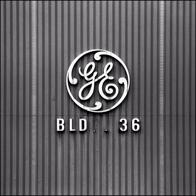 GE logo on the side of Building 36 at the General Electric complex in Fort Wayne, Indiana.