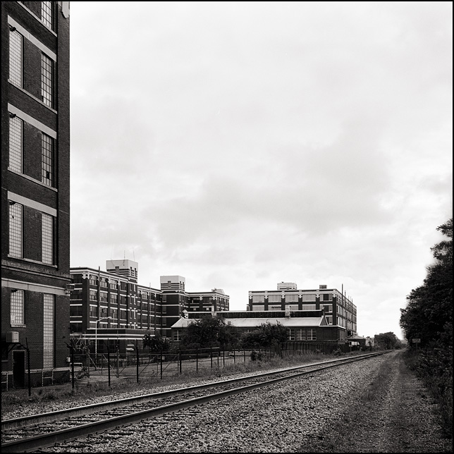 A view of the railroad tracks and buildings at the old General Electric factory in Fort Wayne, Indiana.