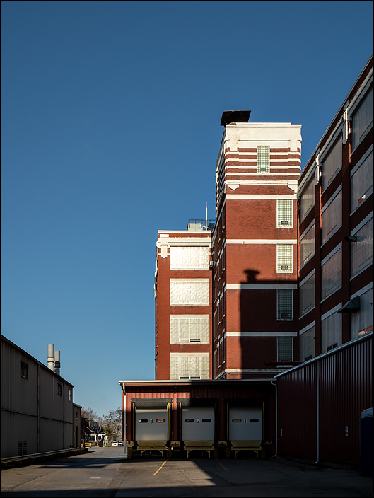 Two of the old brick industrial buildings in the General Electric factory complex on Broadway in Fort Wayne, Indiana.