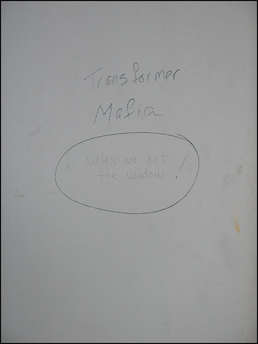 Graffiti on a wall inside building 20 at the former General Electric factory complex in Fort Wayne, Indiana. Transformer Mafia. Rules Are Out The Window!