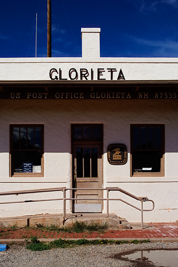 The front door of the old post office in Glorieta, New Mexico.