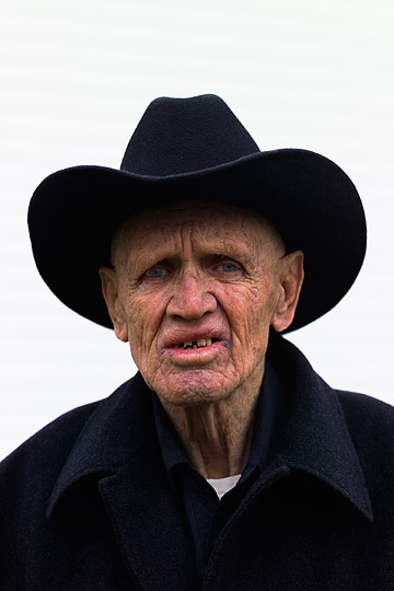 Charles Crawford, who has Alzheimer's disease, wearing his cowboy hat.
