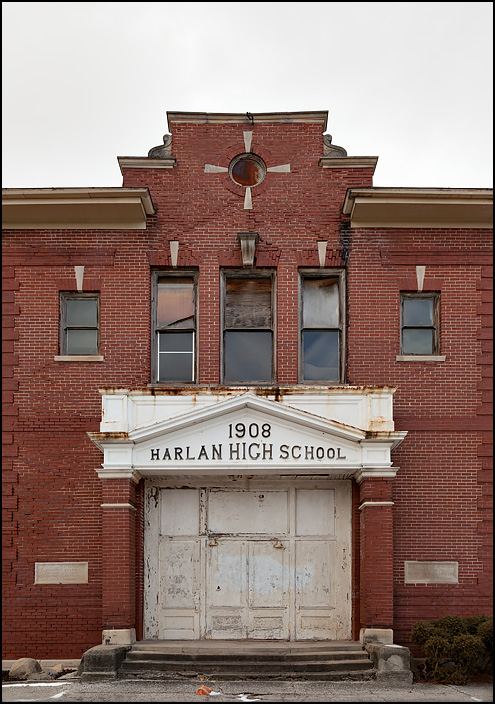 The front entrance of the former Harlan High School building built in 1908 in the small town of Harlan, Indiana.