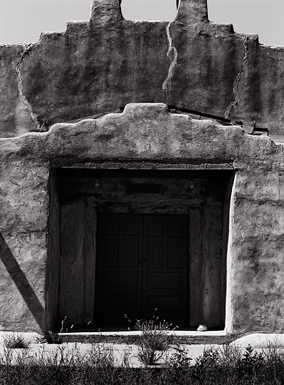The front doors of the old adobe church in Hernandez, New Mexico.