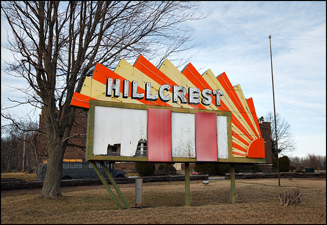 The old neon sign and marquee for the Hillcrest Drive-In Theatre on Tillman Road in Fort Wayne, Indiana.
