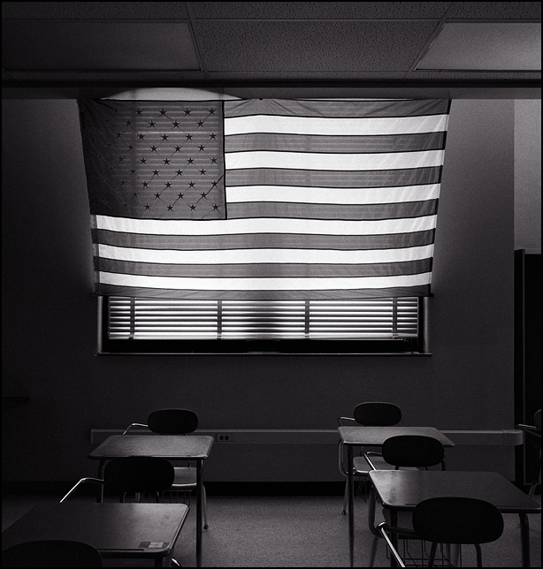 A giant American flag covers the windows in a US History classroom at North Side High School in Fort Wayne, Indiana.