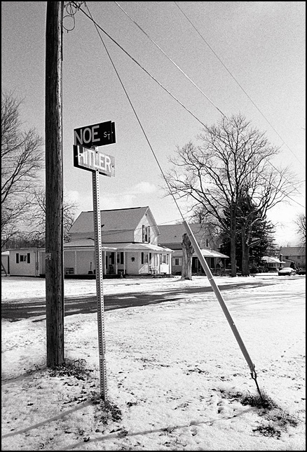 The street sign at the corner of Noe Street and Hitler Street in the small town of Kimmell, Indiana.