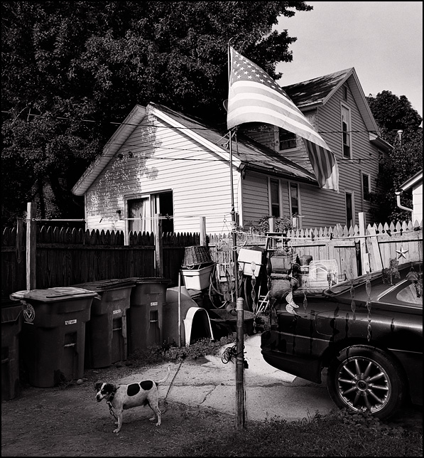A small dog stands next to a flagpole with an American flag in the middle of a small yard full of junk in Fort Wayne, Indiana.